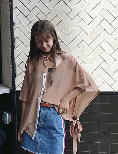 Damen Solide Einfach Hemd,Hemdkragen Sommer Langarm Polyester