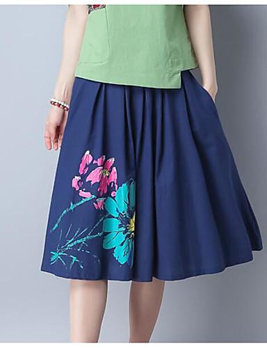 Damen Ausgehen Midi Röcke Schaukel Blumen Sommer