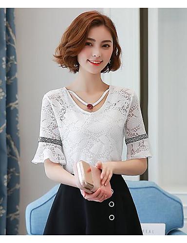 Damen Solide Einfach Lässig/Alltäglich Bluse,Rundhalsausschnitt Kurzarm Baumwolle