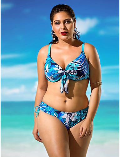 Dames Bandjes Bikini Zwemkleding Bloemen Effen, Fuchsia Regenboog Blauw Lichtblauw Marine Blauw