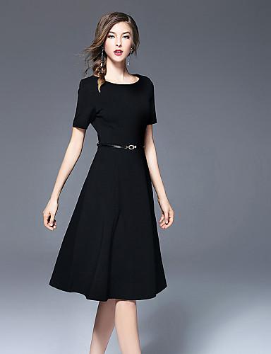 Damen Swing Kleid-Ausgehen Niedlich Solide Rundhalsausschnitt Midi Kurzarm Polyester Herbst Mittlere Hüfthöhe Mikro-elastisch Mittel