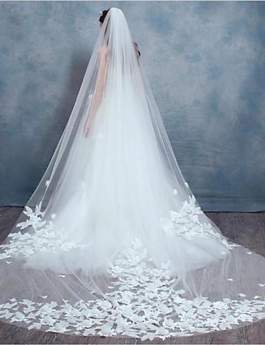 Kétkapcsos Csipke szegély Menyasszonyi fátyol Pironkodó (blusher) fátylak / Könyékig érő fátylak / Kápolna fátyolok A Rátétek / Glitter