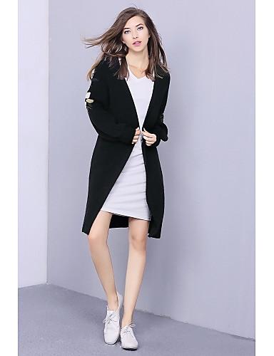 Damen Lang Strickjacke-Lässig/Alltäglich Einfach Druck Rundhalsausschnitt Langarm Baumwolle Winter Mittel Mikro-elastisch