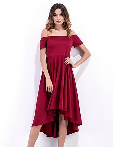 Damen Skater Kleid-Lässig/Alltäglich Solide Bateau Asymmetrisch Kurzarm Baumwolle Sommer Hohe Hüfthöhe Mikro-elastisch Dünn