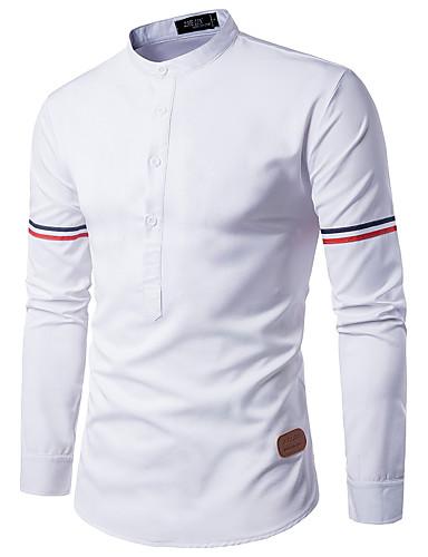 Herren Einfarbig Einfach Lässig/Alltäglich Arbeit Hemd,Ständer Frühling Herbst Langarm Polyester