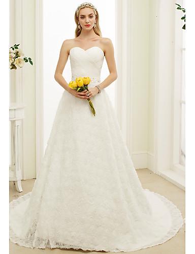 Linha A Decote Princesa Cauda Corte Renda Vestidos de noiva personalizados com Miçangas Faixa / Fita de LAN TING BRIDE®