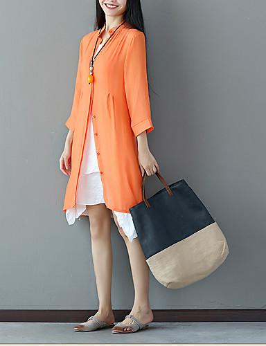 Damen Lose Kleid-Ausgehen Einfach Solide Rundhalsausschnitt Übers Knie 3/4 Ärmel Leinen Polyester Sommer Mittlere Hüfthöhe Mikro-elastisch