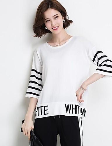 Damen Standard Pullover-Lässig/Alltäglich Solide Gestreift Rundhalsausschnitt Halbe Ärmel Leinen Andere Sommer Dünn Mikro-elastisch