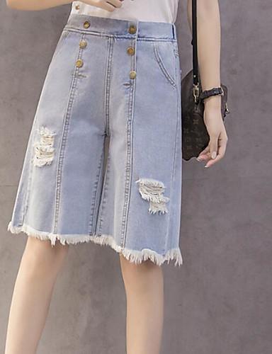 Damen Street Schick Mittlere Hüfthöhe Mikro-elastisch Kurze Hosen Jeans Schlank Hose Solide