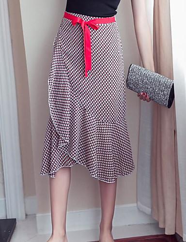 Damen Urlaub Asymmetrisch Röcke Schaukel Muster Sommer