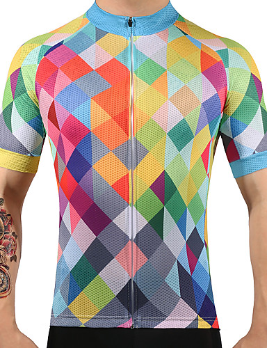 cheap Cycling Clothing-FUALRNY® Men's Short Sleeve Cycling Jersey Argyle Bike Jersey Top Quick Dry Sports 100% Polyester Mountain Bike MTB Road Bike Cycling Clothing Apparel / High Elasticity