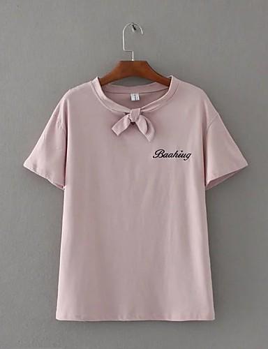 Damen Buchstabe Einfach Sexy Street Schick Lässig/Alltäglich Ausgehen T-shirt,Rundhalsausschnitt Sommer Herbst Kurzarm Baumwolle Mittel