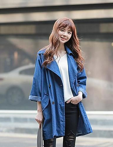 Damen Solide Einfach Lässig/Alltäglich Jacke,Gekerbtes Revers Herbst Lange Ärmel Standard Polyester