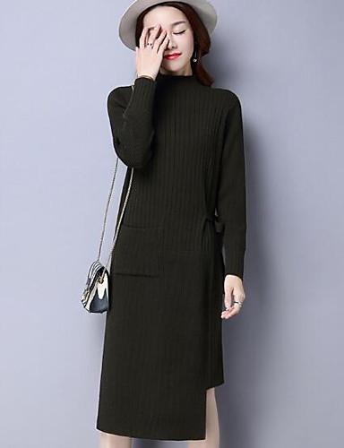 Damen Lang Pullover-Lässig/Alltäglich Solide Rollkragen Langarm Wolle Andere Herbst Winter Mittel Mikro-elastisch