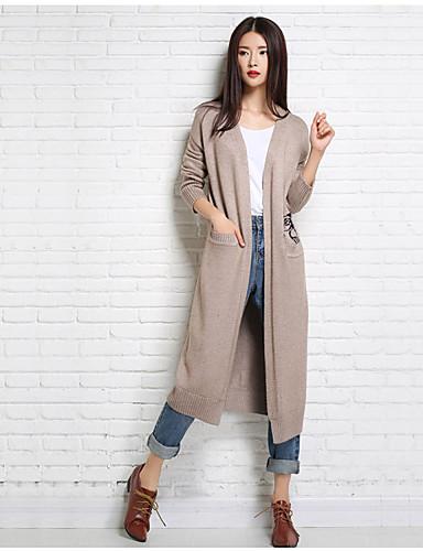 Damen Lang Strickjacke-Lässig/Alltäglich Druck Rundhalsausschnitt Langarm Wolle Winter Mittel Mikro-elastisch