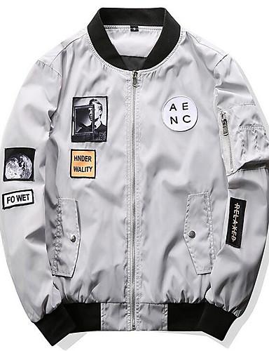 Herren Solide Druck Einfach Lässig/Alltäglich Jacke,Ständer Frühling Herbst Lange Ärmel Standard Baumwolle Acryl
