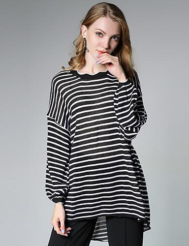 Damen Standard Pullover-Lässig/Alltäglich Punk & Gothic Gestreift Rundhalsausschnitt Langarm Polyester Herbst Mittel Mikro-elastisch