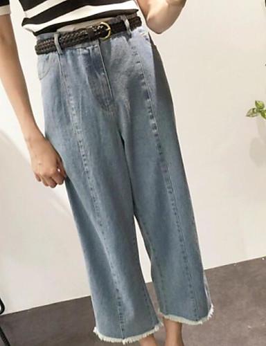 Damen Einfach Mittlere Hüfthöhe Mikro-elastisch Jeans Breites Bein Hose Solide