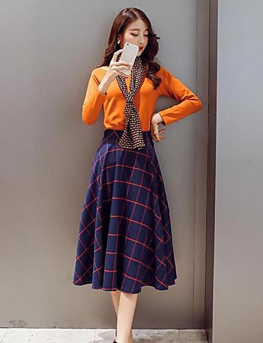 Damen Solide Einfach Lässig/Alltäglich T-Shirt-Ärmel Rock Anzüge,Rundhalsausschnitt Frühling Lange Ärmel Mikro-elastisch