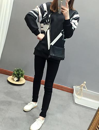 Damen Pullover Ausgehen Lässig/Alltäglich Niedlich Aktiv Druck Rundhalsausschnitt Mikro-elastisch Baumwolle Langärmelige Frühling Herbst