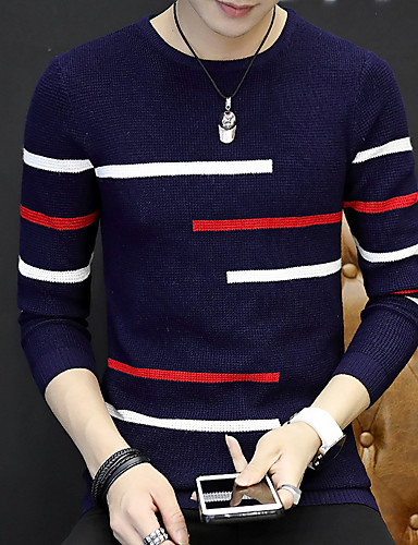 Men's Weekend Long Sleeve Long Pullover - Solid Colored Round Neck