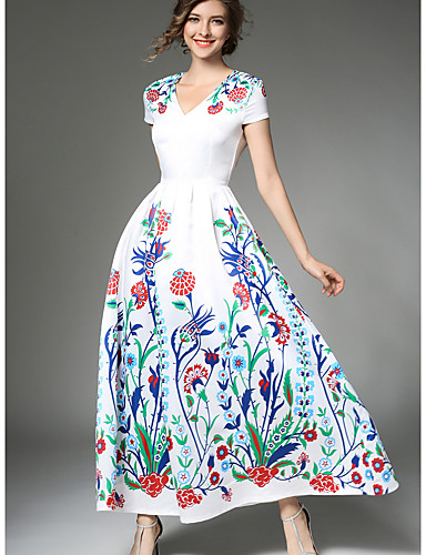 Damen Swing Kleid-Party Festtage Ausgehen Boho Blumen V-Ausschnitt Maxi Kurzarm Polyester Sommer Mittlere Hüfthöhe Unelastisch Dünn