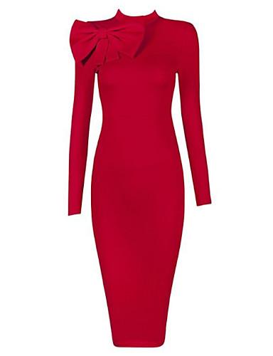 Damen Ausgehen Bodycon Kleid Solide Midi Mini Rundhalsausschnitt Hohe Hüfthöhe Rot