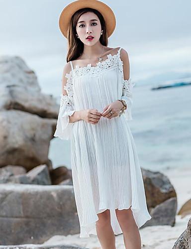 Damen Swing Kleid-Lässig/Alltäglich Solide Gurt Asymmetrisch Kurzarm Baumwolle Sommer Mittlere Hüfthöhe Unelastisch Dünn