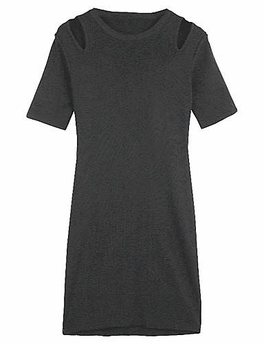 Damen A-Linie Kleid-Lässig/Alltäglich Solide Rundhalsausschnitt Übers Knie Kurzarm Polyester Sommer Hohe Hüfthöhe Mikro-elastisch Dünn