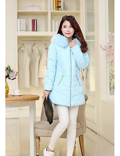 Damen Gefüttert Mantel Einfach Lässig/Alltäglich Solide camuflaje-Baumwolle Baumwolle Langarm
