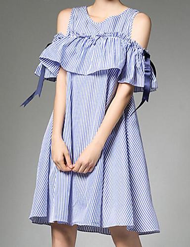 Damen Lose Kleid-Ausgehen Gestreift Rundhalsausschnitt Übers Knie Kurzarm Polyester Sommer Mittlere Hüfthöhe Mikro-elastisch Mittel