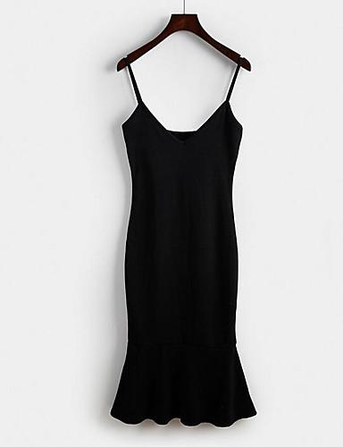 Damen Bodycon Kleid-Lässig/Alltäglich Solide Gurt Übers Knie Ärmellos Andere Sommer Mittlere Hüfthöhe Mikro-elastisch Mittel