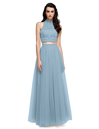 d7094aa0bff6 Sheath / Column / Two Piece High Neck Floor Length Satin / Tulle Two Piece  Prom / Formal Evening Dress with Beading / Pearls by TS Couture®