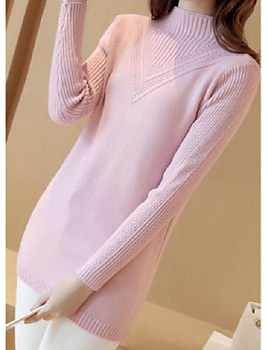 Damen Standard Pullover-Lässig/Alltäglich Solide Rollkragen Langarm Baumwolle Leinen Herbst Mittel Mikro-elastisch