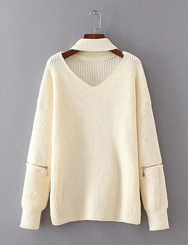 Damen Standard Pullover-Ausgehen Lässig/Alltäglich Einfach Niedlich Solide V-Ausschnitt Langarm Baumwolle Frühling Herbst Mittel