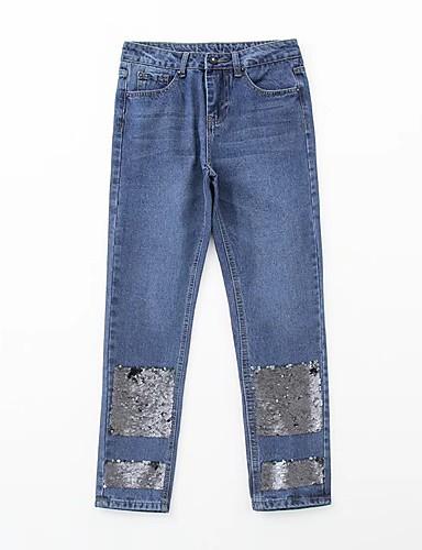 Damen Street Schick Mittlere Hüfthöhe Mikro-elastisch Lose Jeans Hose,Andere Ganzjährig Stickerei