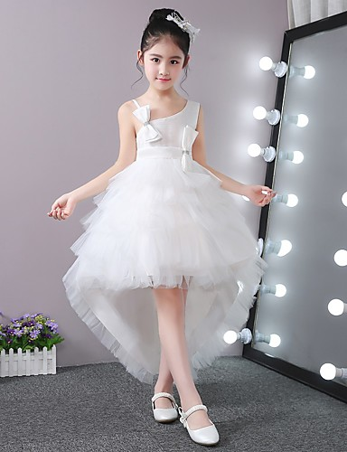 Ballkleid asymmetrische Blume Mädchen Kleid - Stick-Satin Tüll ärmellose eine Schulter mit Perlen