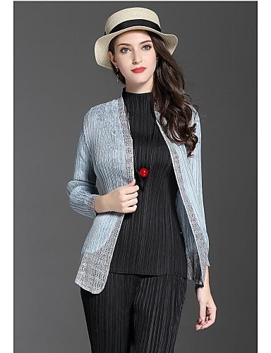 Damen Solide Niedlich Ausgehen Jacke,Schal Revers Herbst Lange Ärmel Standard Polyester