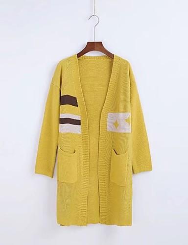 Damen Lang Strickjacke-Lässig/Alltäglich Ausgehen Einfach Solide Einfarbig V-Ausschnitt Langarm Baumwolle Andere Frühling Herbst Mittel