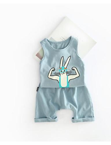 Baby Baby Kleidungs Set Wochenende Volltonfarbe Baumwolle Sommer Klassisch & Zeitlos Blau Weiß
