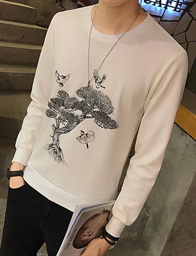 Herren Solide Blumen Einfach Lässig/Alltäglich Ausgehen T-shirt,Rundhalsausschnitt Langarm Polyester Elasthan Andere