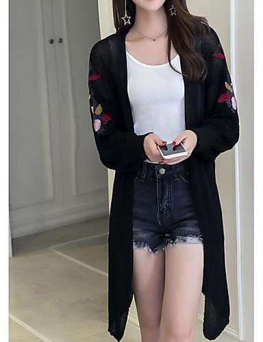 Damen Solide Einfach Lässig/Alltäglich Trench Coat,V-Ausschnitt Frühling Lange Ärmel Lang Polyester