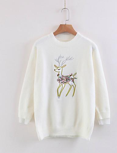 Damen Standard Pullover-Ausgehen Lässig/Alltäglich Einfach Niedlich Druck Rundhalsausschnitt Langarm Baumwolle Frühling Herbst Mittel