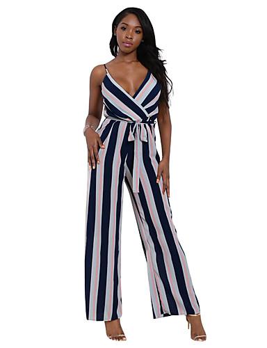 Damen Overall - Rückenfrei, Einfarbig Patchwork Breites Bein V-Ausschnitt Hohe Hüfthöhe