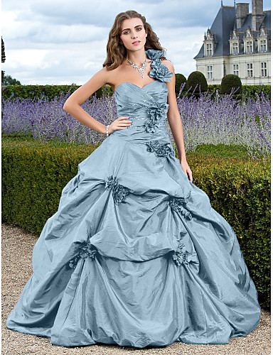 d69d4a214e1 Ball Gown One Shoulder Court Train Taffeta Formal Evening Dress with  Appliques   Pick Up Skirt by TS Couture®