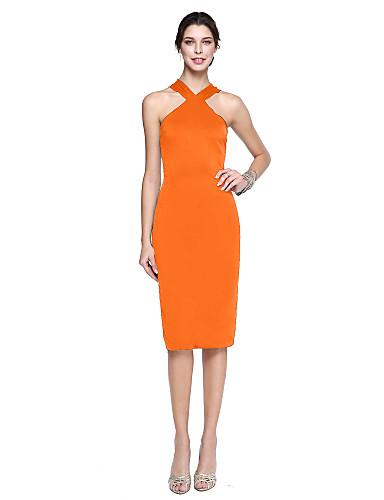 abordables robe invitée mariage-Fourreau / Colonne Licou Mi-long Satin Mat Robe avec Plissé par TS Couture®