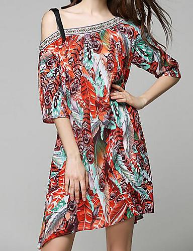 Damen A-Linie Kleid-Ausgehen Einfarbig Schulterfrei Asymmetrisch Halbe Ärmel Andere Sommer Mittlere Hüfthöhe Mikro-elastisch Mittel