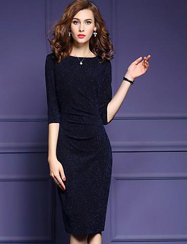 Damen Hülle Kleid-Lässig/Alltäglich Solide Rundhalsausschnitt Midi Halbe Ärmel Polyester Sommer Mittlere Hüfthöhe Mikro-elastisch Mittel
