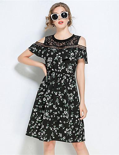 Damen Hülle Kleid-Lässig/Alltäglich Blumen Rundhalsausschnitt Knielang Kurzarm Polyester Sommer Mittlere Hüfthöhe Mikro-elastisch Mittel