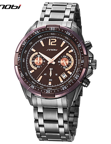 SINOBI Men's Sport Watch / Wrist Watch Chinese Chronograph / Shock Resistant / Cool Metal Band Luxury / Casual / Fashion Brown / Large Dial / Two Years / Sony SR626SW